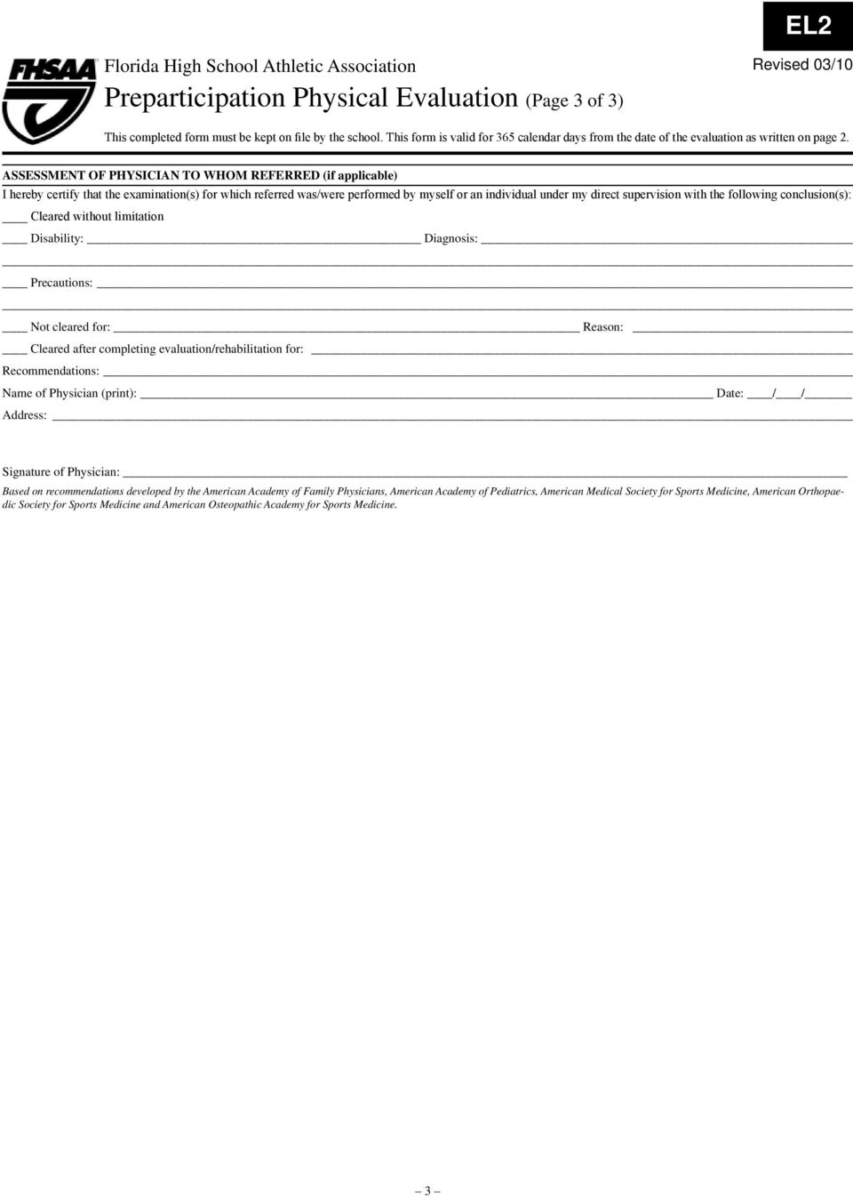 sports physical form florida  Florida High School Athletic Association Clearance for ...