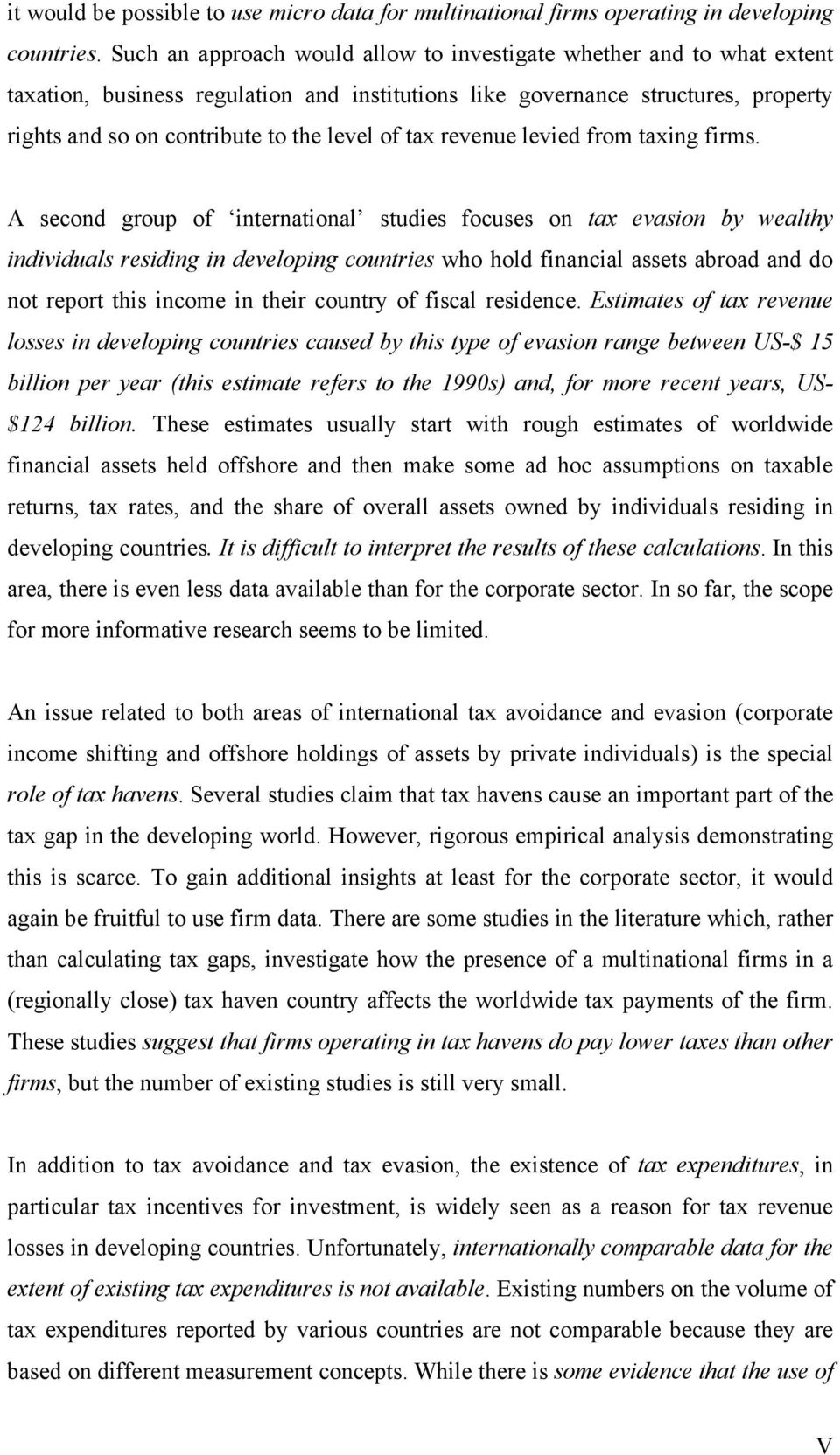 Tax Evasion Tax Avoidance And Tax Expenditures In Developing Countries A Review Of The Literature Pdf Free Download