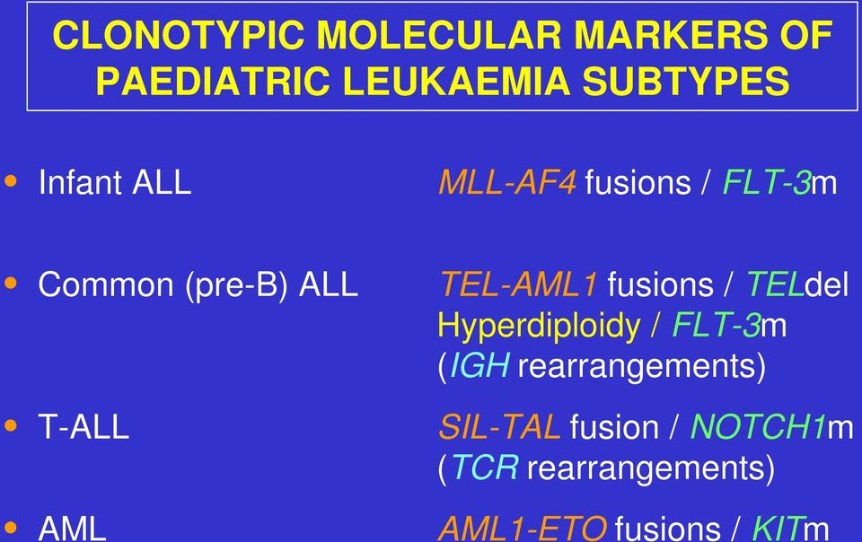 fusions / TELdel Hyperdiploidy / FLT-3m (IGH rearrangements) T-ALL