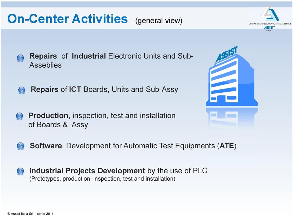 installation of Boards & Assy Software Development for Automatic Test Equipments (ATE)