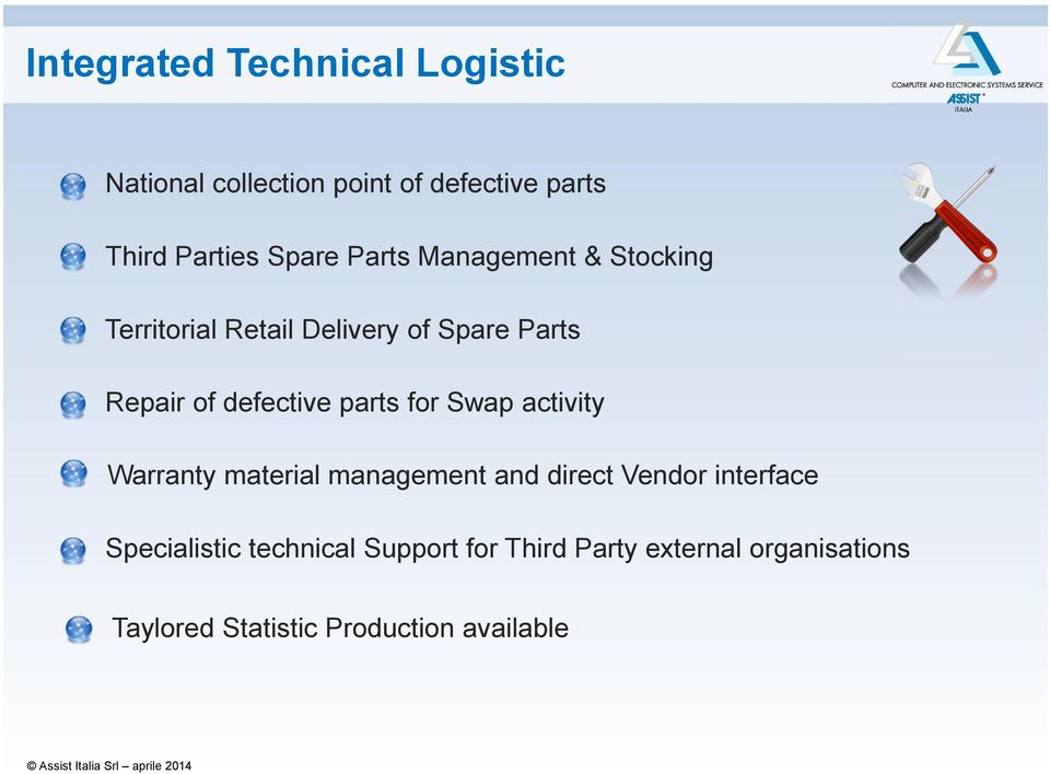 defective parts for Swap activity Warranty material management and direct Vendor interface