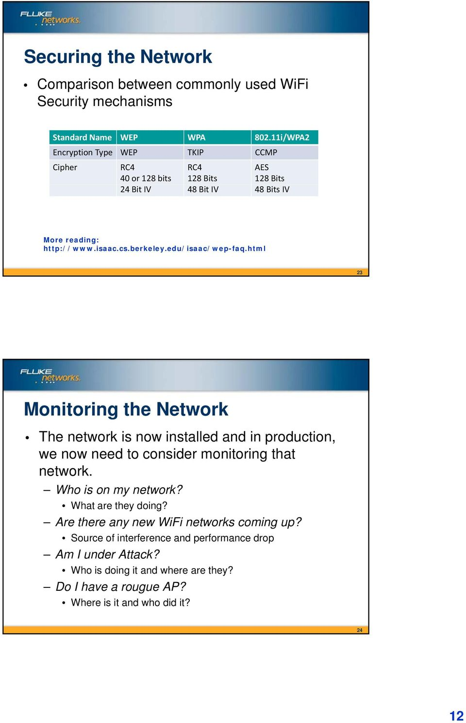 edu/isaac/wep-faq.html 23 Monitoring the Network The network is now installed and in production, we now need to consider monitoring i that t network.
