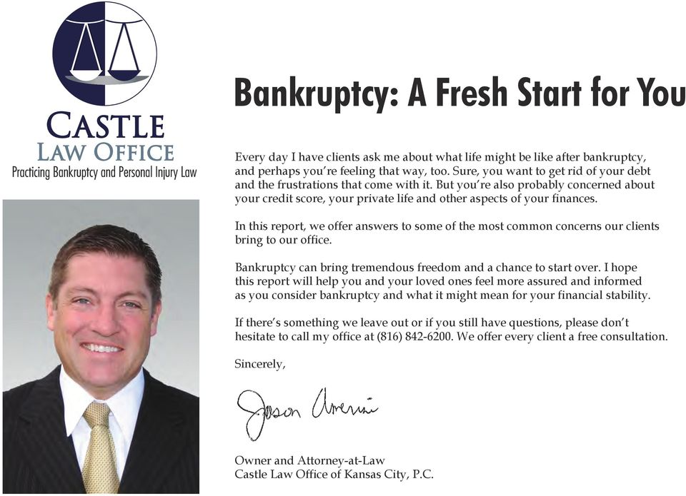 In this report, we offer answers to some of the most common concerns our clients bring to our office. Bankruptcy can bring tremendous freedom and a chance to start over.