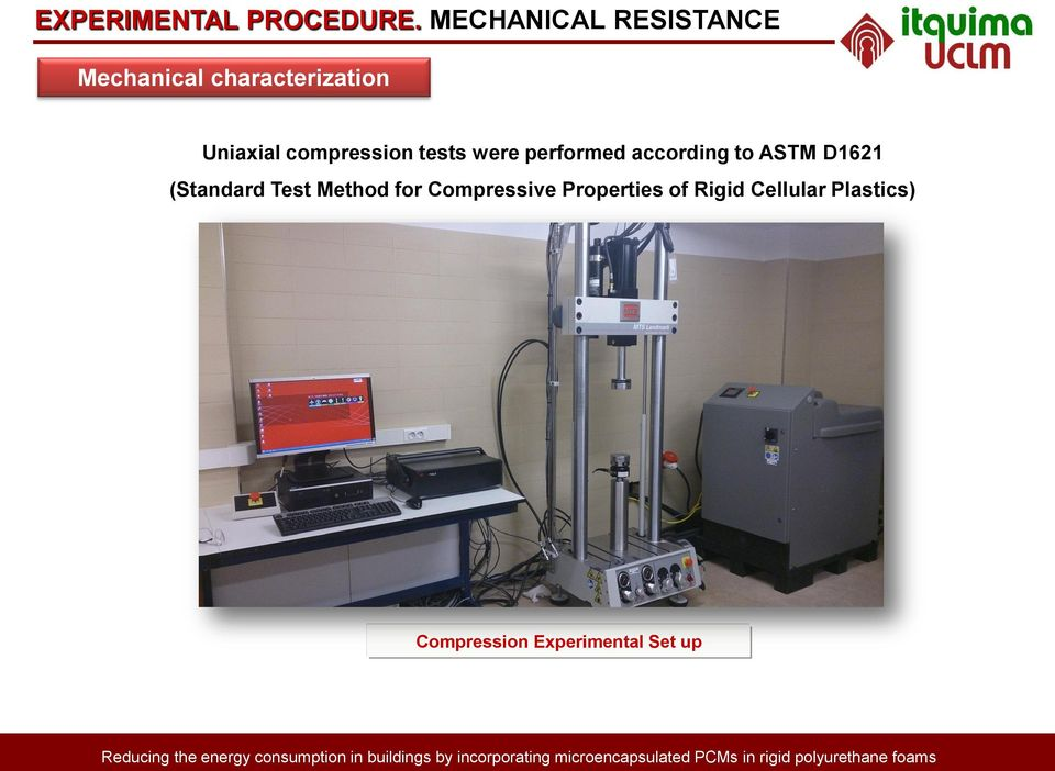 compression tests were performed according to ASTM D1621