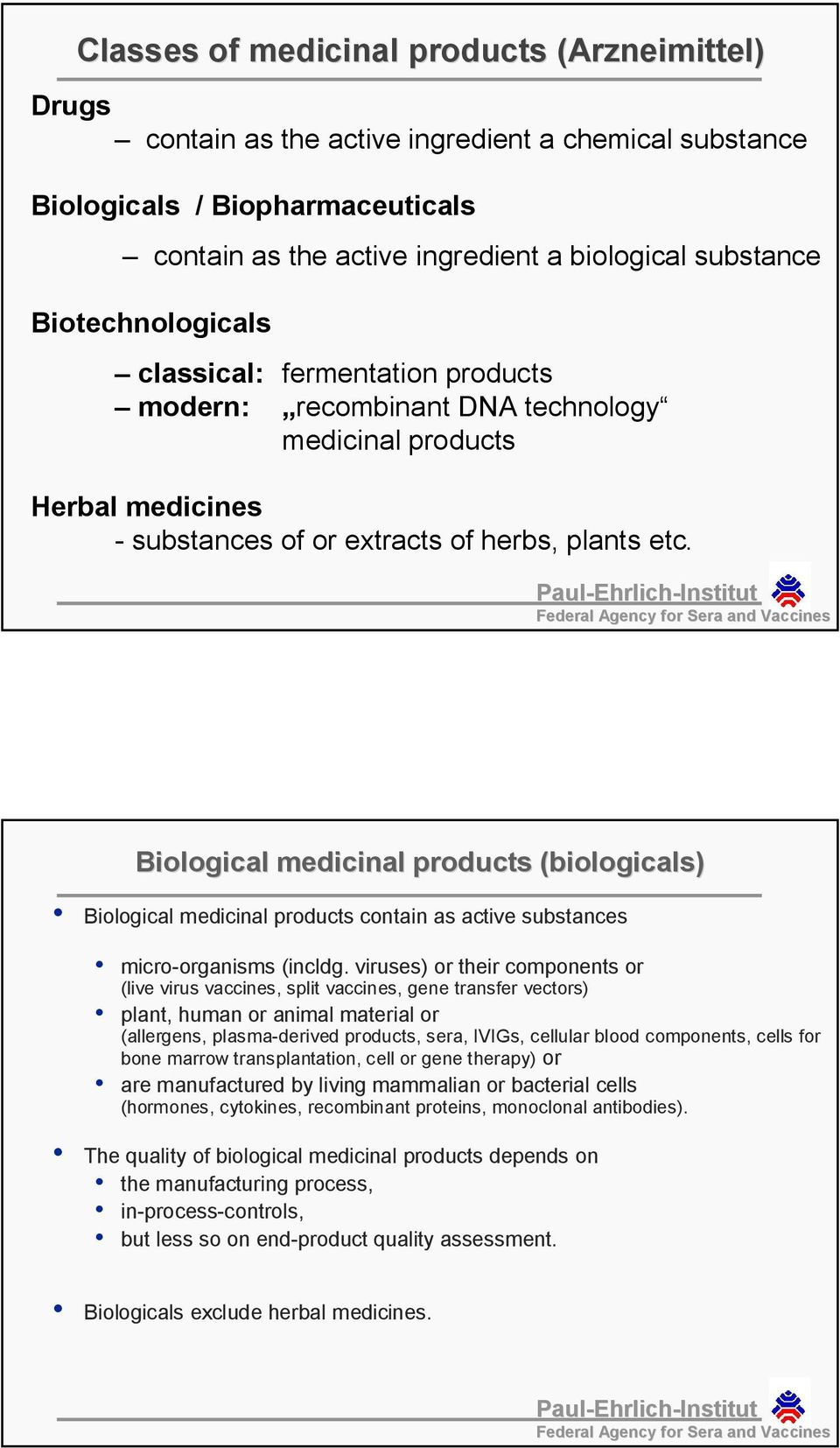 Biological medicinal products (biologicals) Biological medicinal products contain as active substances micro-organisms (incldg.