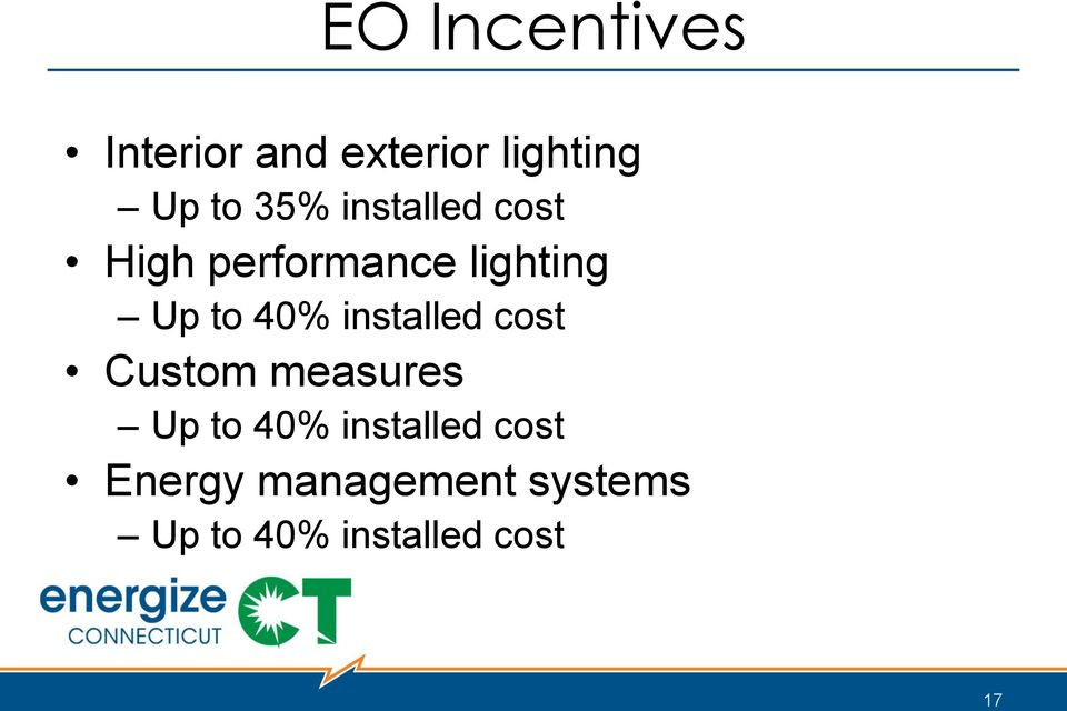 40% installed cost Custom measures Up to 40%