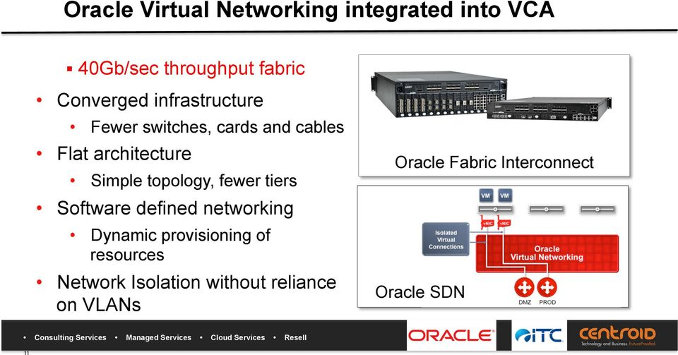 cables Flat architecture Simple topology, fewer tiers Software defined networking
