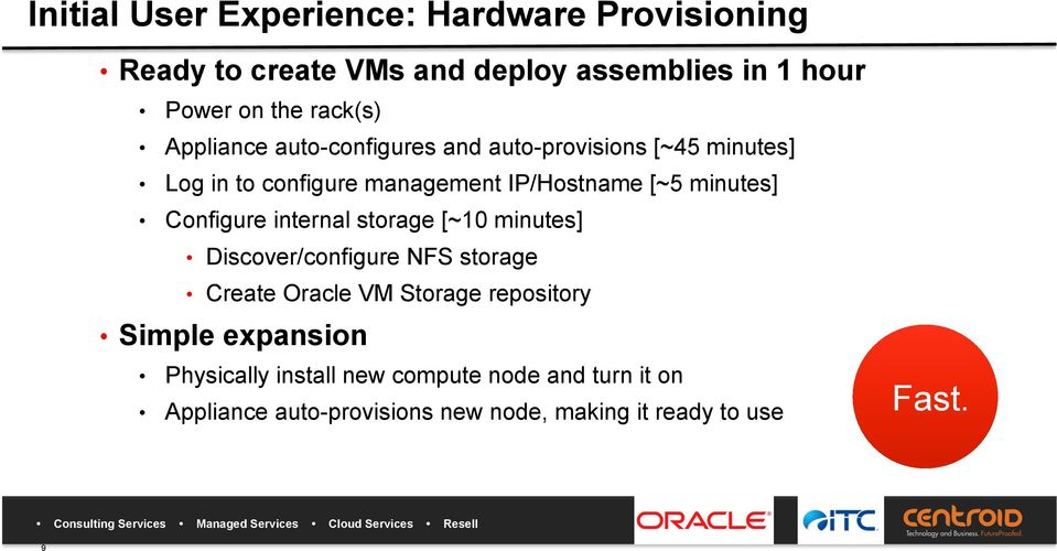 Configure internal storage [~10 minutes] Discover/configure NFS storage Create Oracle VM Storage repository Simple