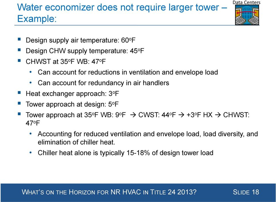 at design: 5 o F Tower approach at 35 o FWB WB: 9 o F CWST: 44 o F +3 o FHX CHWST: 47 o F Accounting for reduced ventilation and envelope load, load