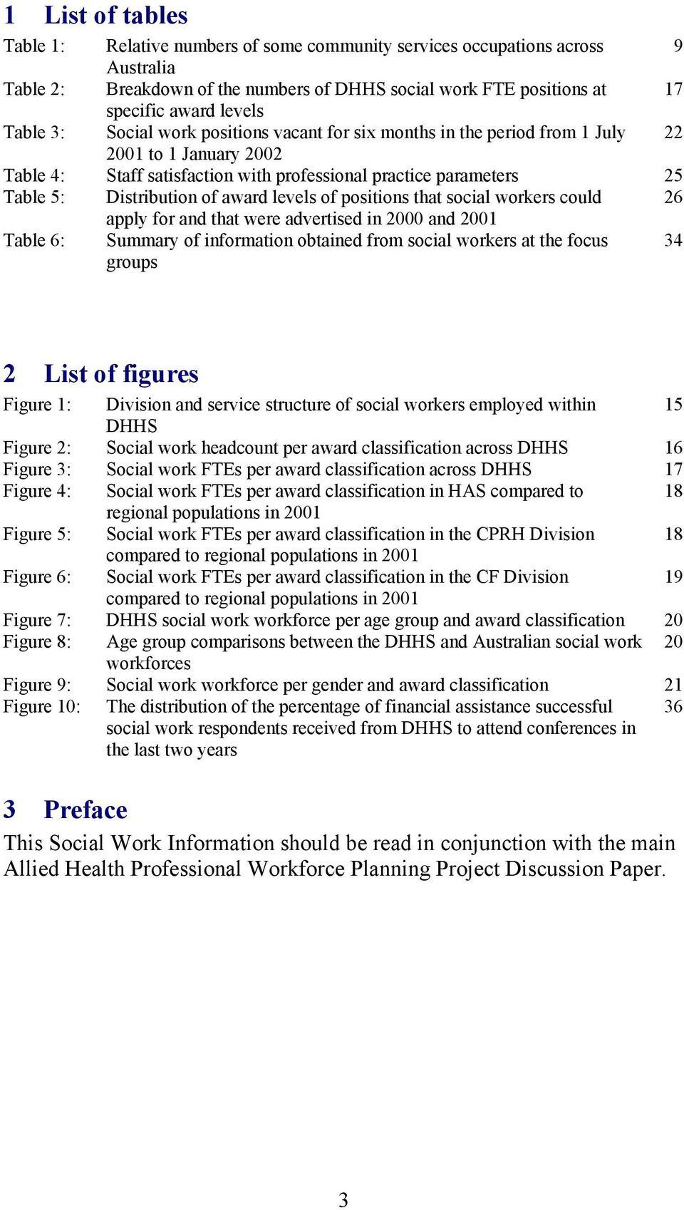 award levels of positions that social workers could 26 apply for and that were advertised in 2000 and 2001 Table 6: Summary of information obtained from social workers at the focus groups 34 2 List