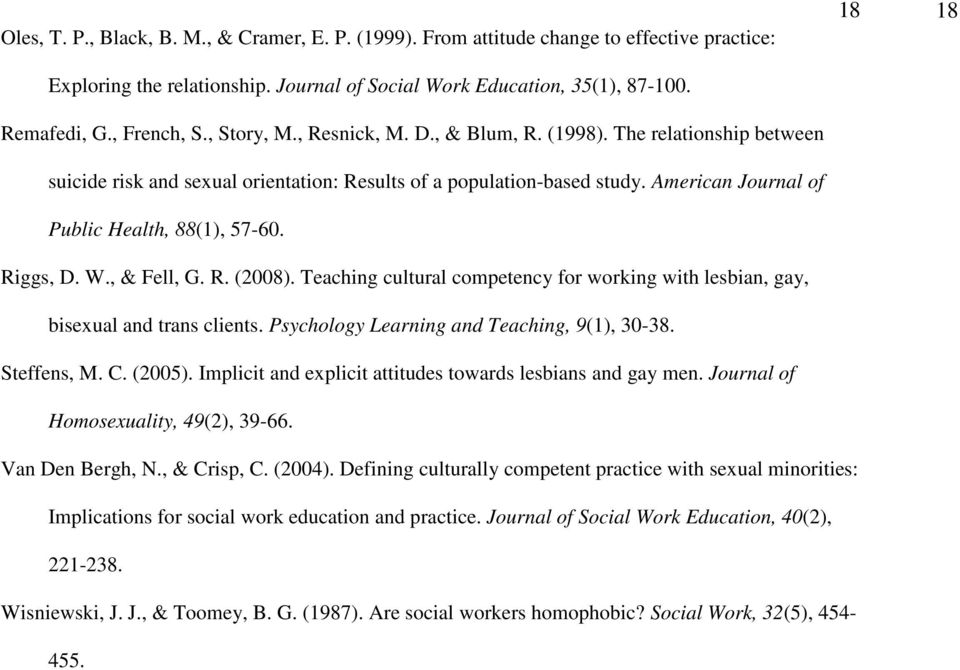 American Journal of Public Health, 88(1), 57-60. Riggs, D. W., & Fell, G. R. (2008). Teaching cultural competency for working with lesbian, gay, bisexual and trans clients.