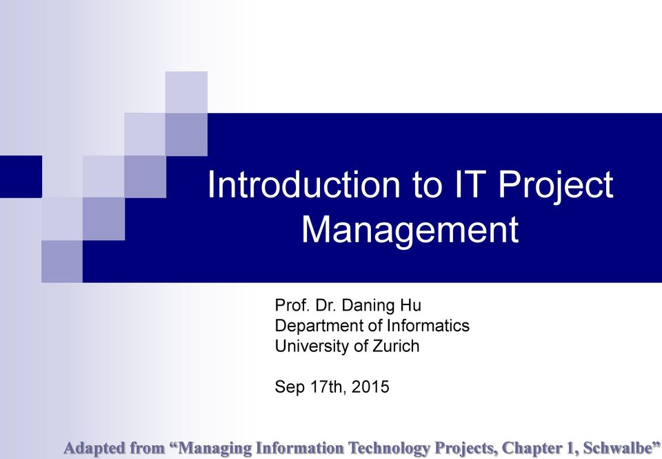 Project Management Prof. Dr.