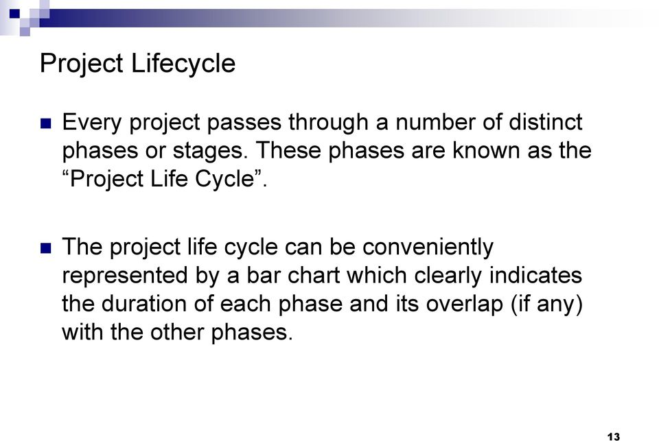 The project life cycle can be conveniently represented by a bar chart which