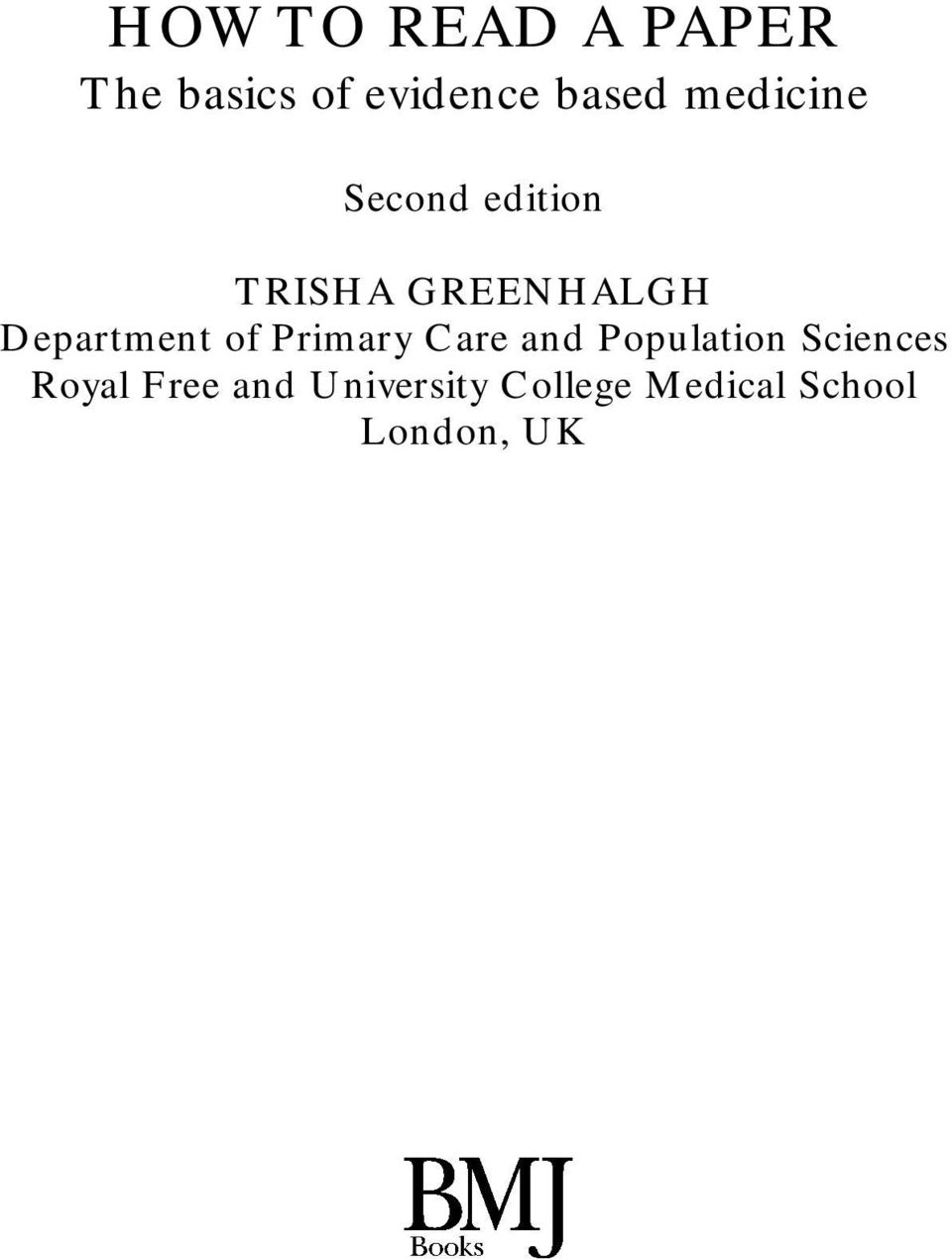 Department of Primary Care and Population Sciences