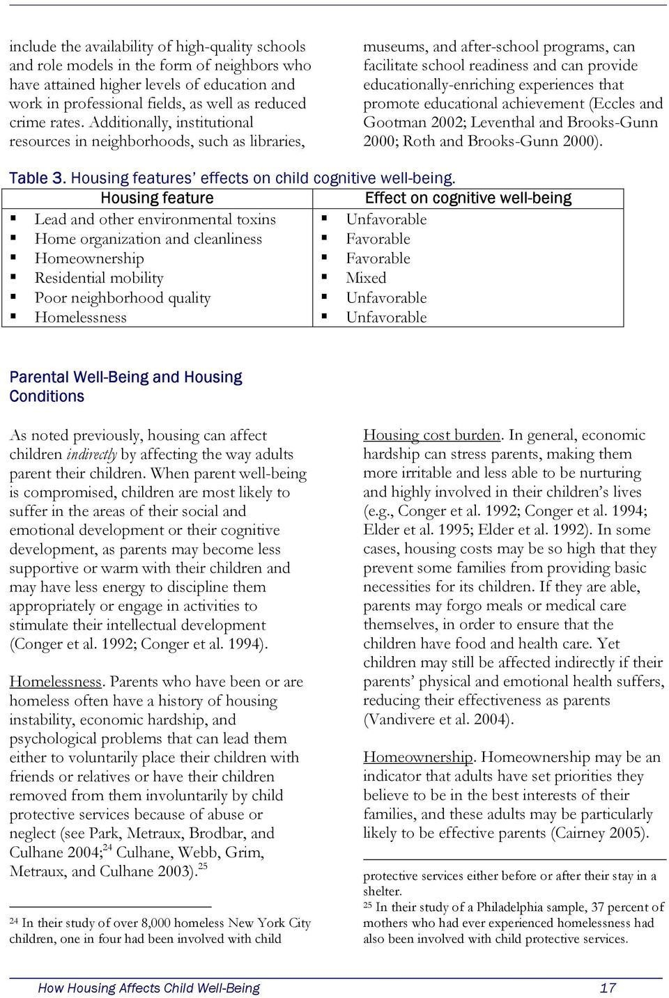 promote educational achievement (Eccles and Gootman 2002; Leventhal and Brooks-Gunn 2000; Roth and Brooks-Gunn 2000). Table 3. Housing features effects on child cognitive well-being.