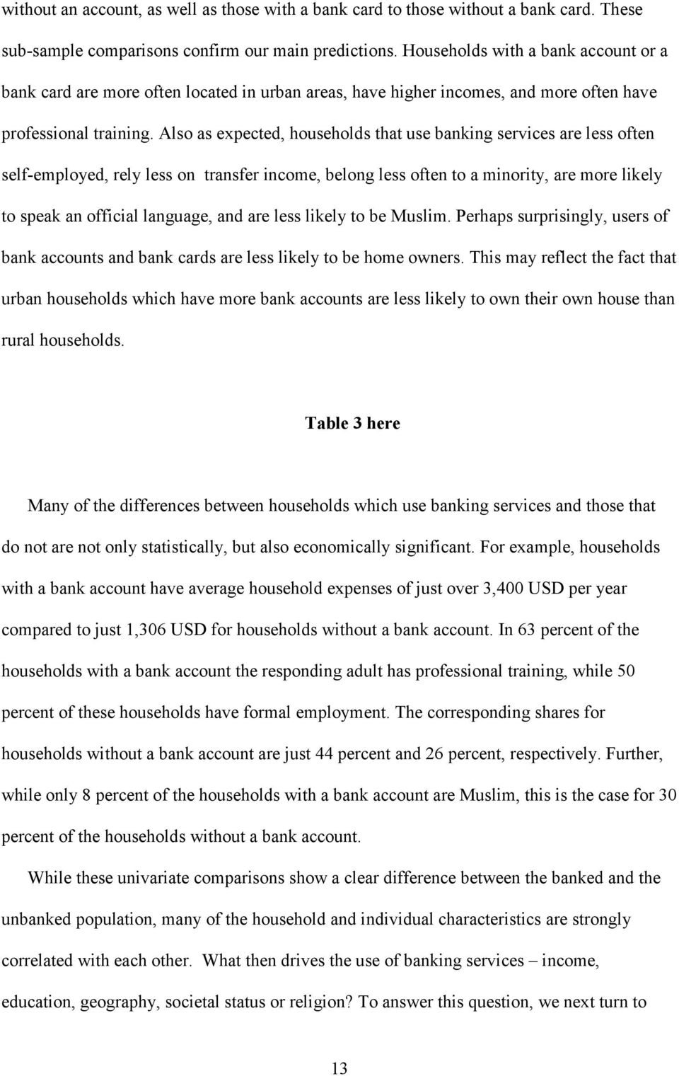Also as expected, households that use banking services are less often self-employed, rely less on transfer income, belong less often to a minority, are more likely to speak an official language, and