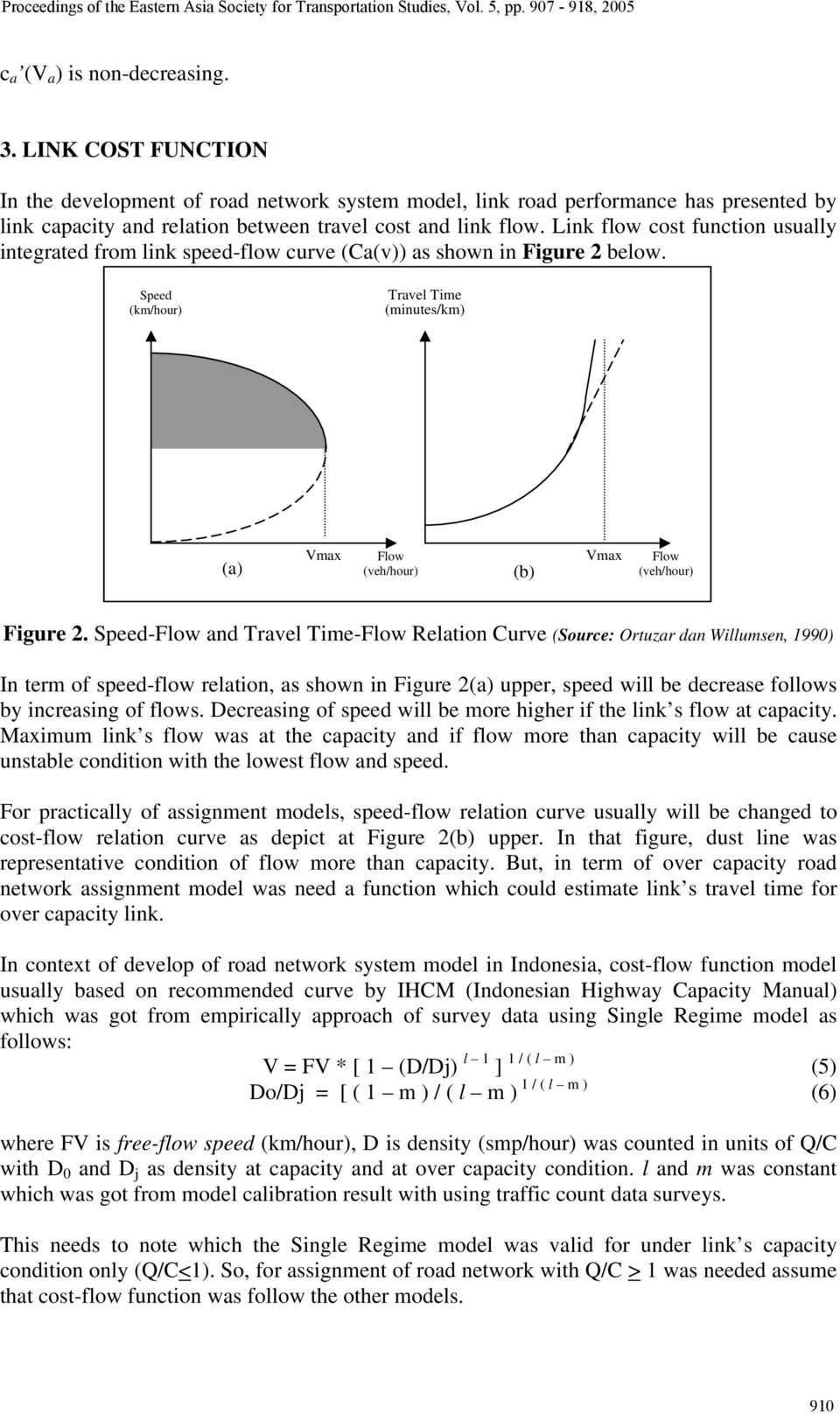 Link flow cost function usually integrated from link speed-flow curve (Ca(v)) as shown in Figure 2 below.