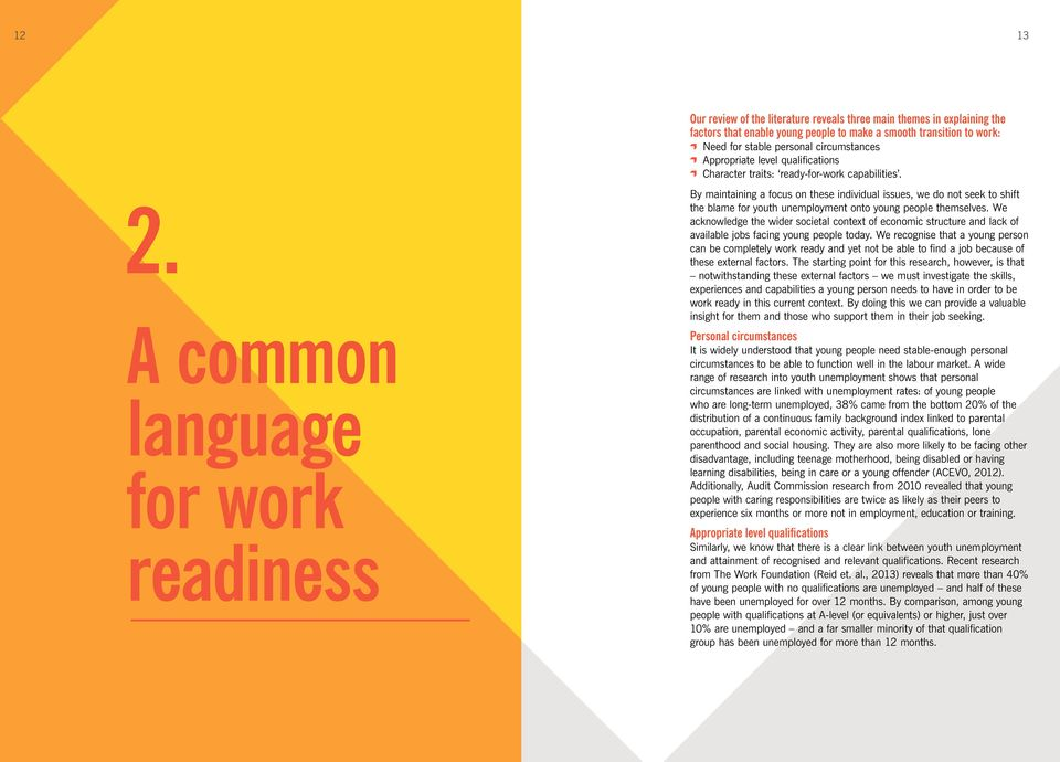 A common language for work readiness By maintaining a focus on these individual issues, we do not seek to shift the blame for youth unemployment onto young people themselves.