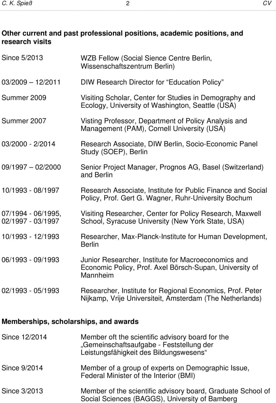 Department of Policy Analysis and Management (PAM), Cornell University (USA) 03/2000-2/2014 Research Associate, DIW Berlin, Socio-Economic Panel Study (SOEP), Berlin 09/1997 02/2000 Senior Project