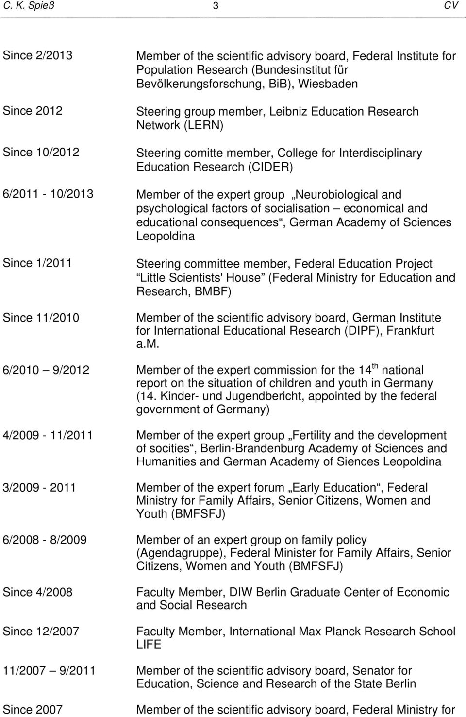Neurobiological and psychological factors of socialisation economical and educational consequences, German Academy of Sciences Leopoldina Since 1/2011 Since 11/2010 Steering committee member, Federal