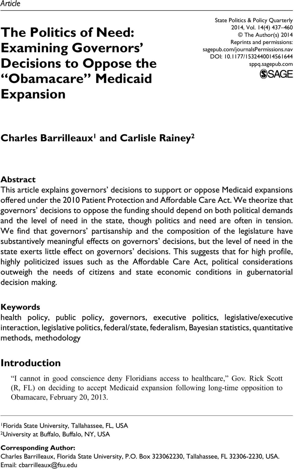 Expansion State Politics & Policy Quarterly 2014, Vol. 14(4) 437 460 The Author(s) 2014 Reprints and permissions: sagepub.