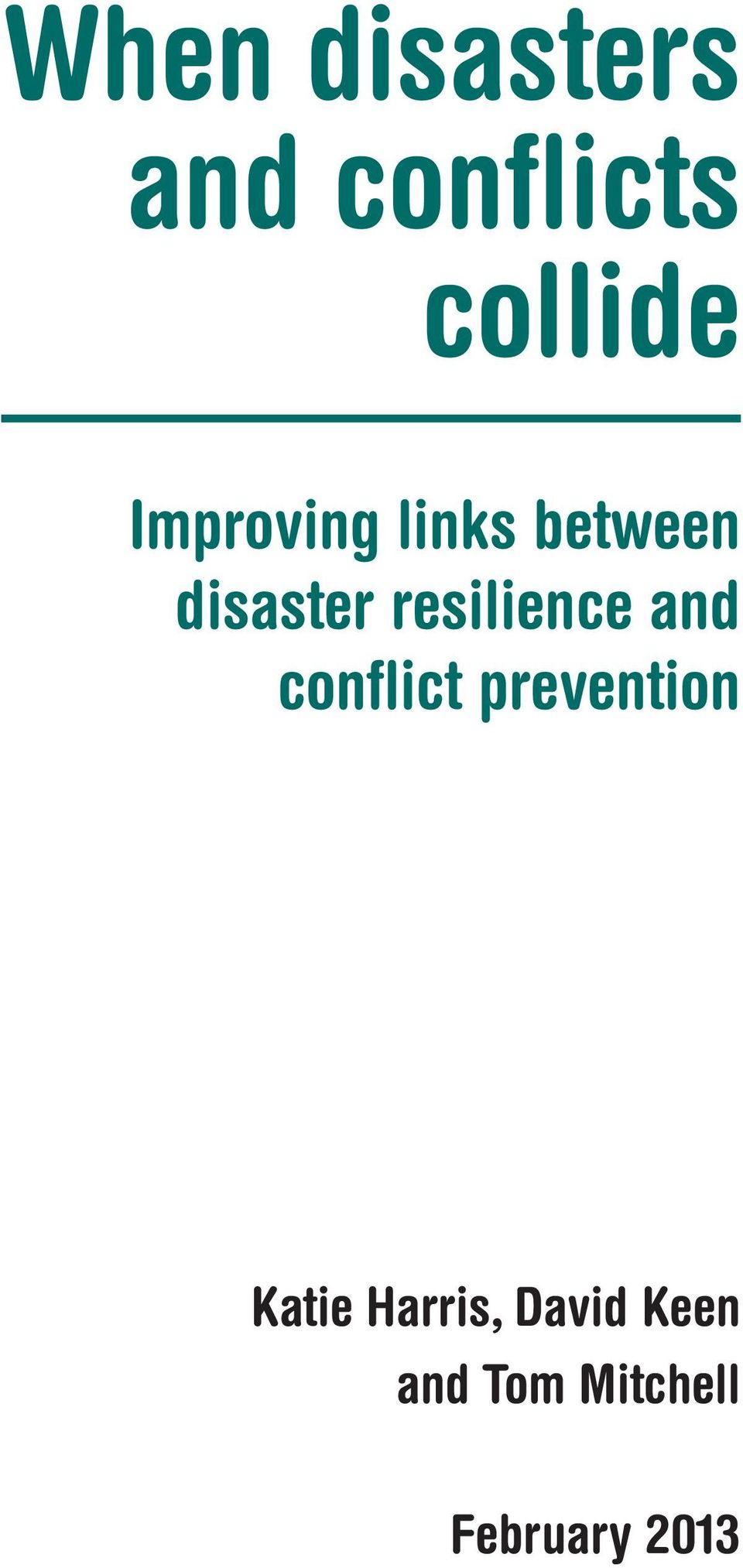 resilience and conflict prevention