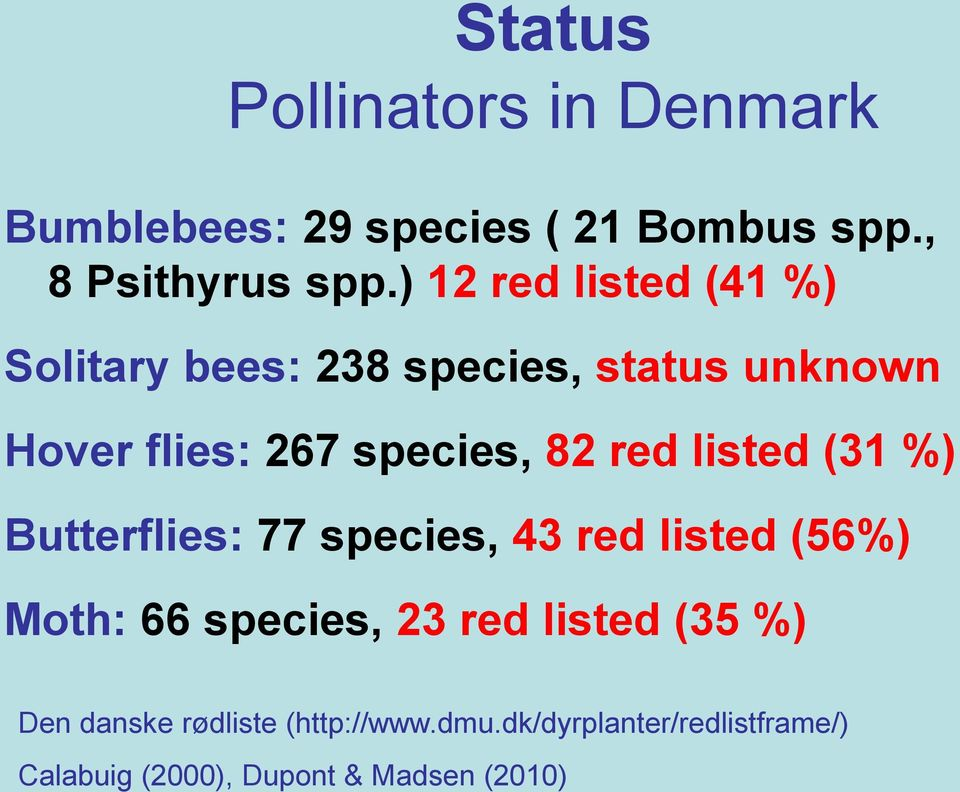 red listed (31 %) Butterflies: 77 species, 43 red listed (56%) Moth: 66 species, 23 red listed
