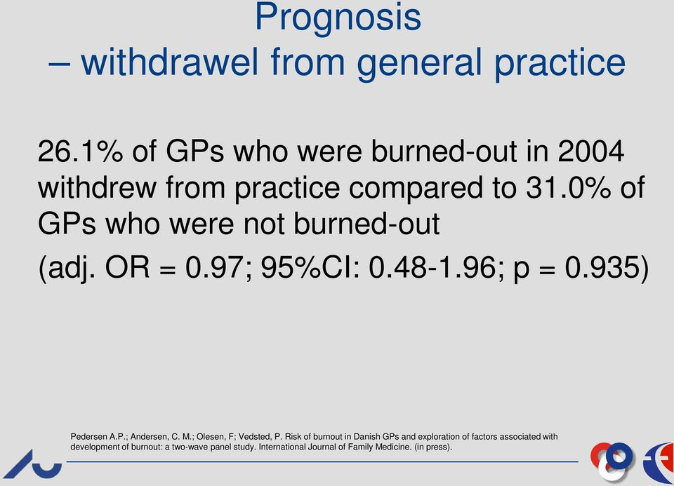 0% of GPs who were not burned-out (adj. OR = 0.97; 95%CI: 0.48-1.96; p = 0.935) Pedersen A.P.; Andersen, C.