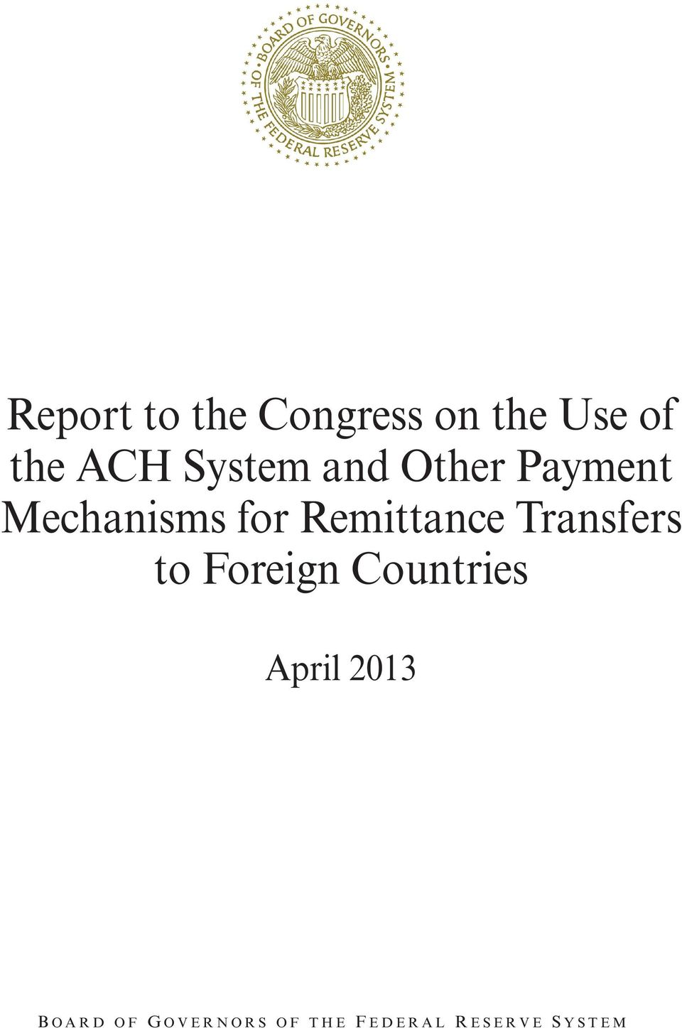 Transfers to Foreign Countries April 2013