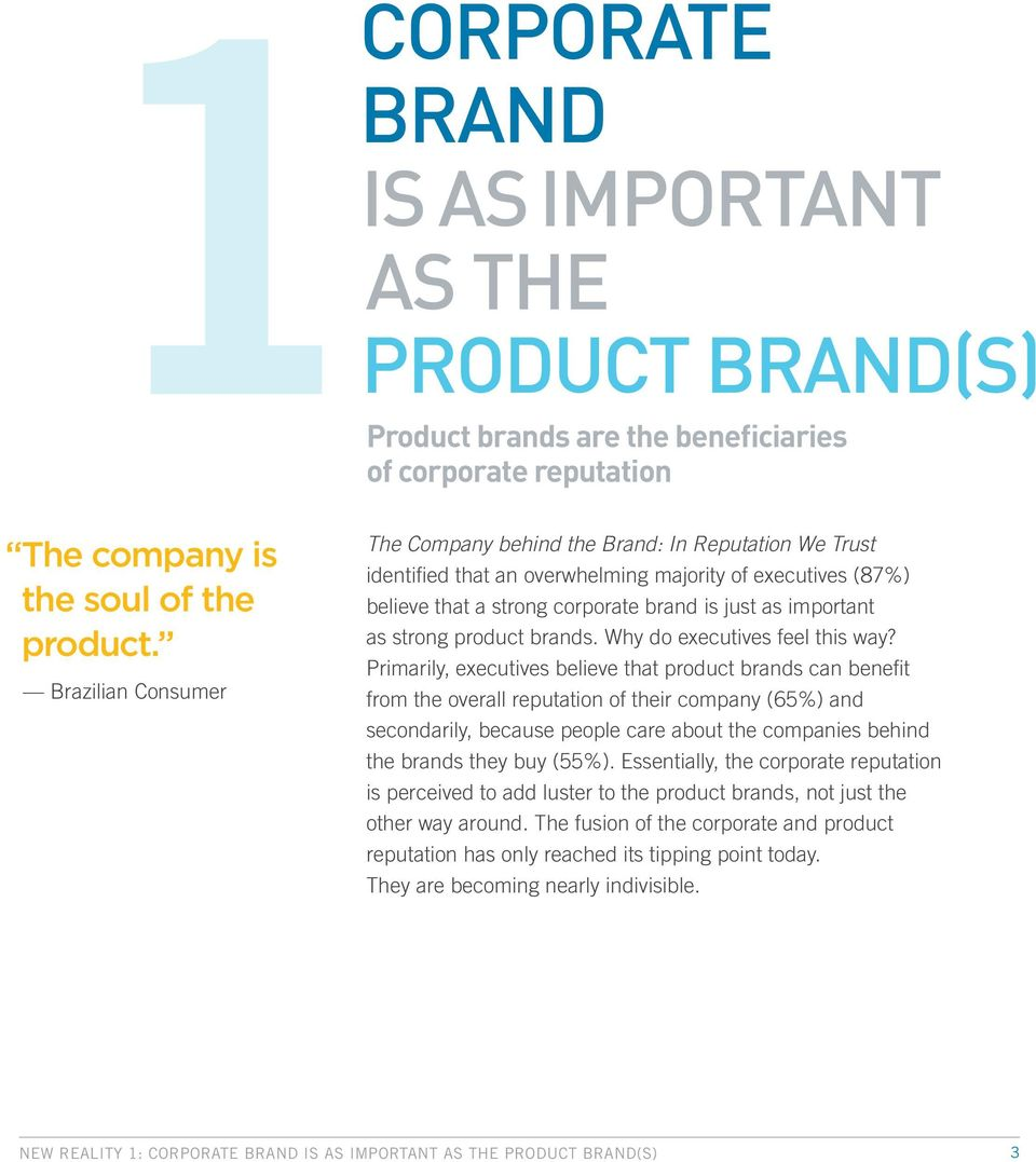 strong product brands. Why do executives feel this way?