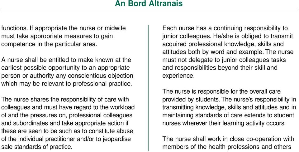 The nurse shares the responsibility of care with colleagues and must have regard to the workload of and the pressures on, professional colleagues and subordinates and take appropriate action if these