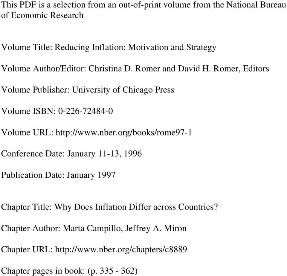Romer, Editors Volume Publisher: University of Chicago Press Volume ISBN: 0-226-72484-0 Volume URL: http://www.nber.