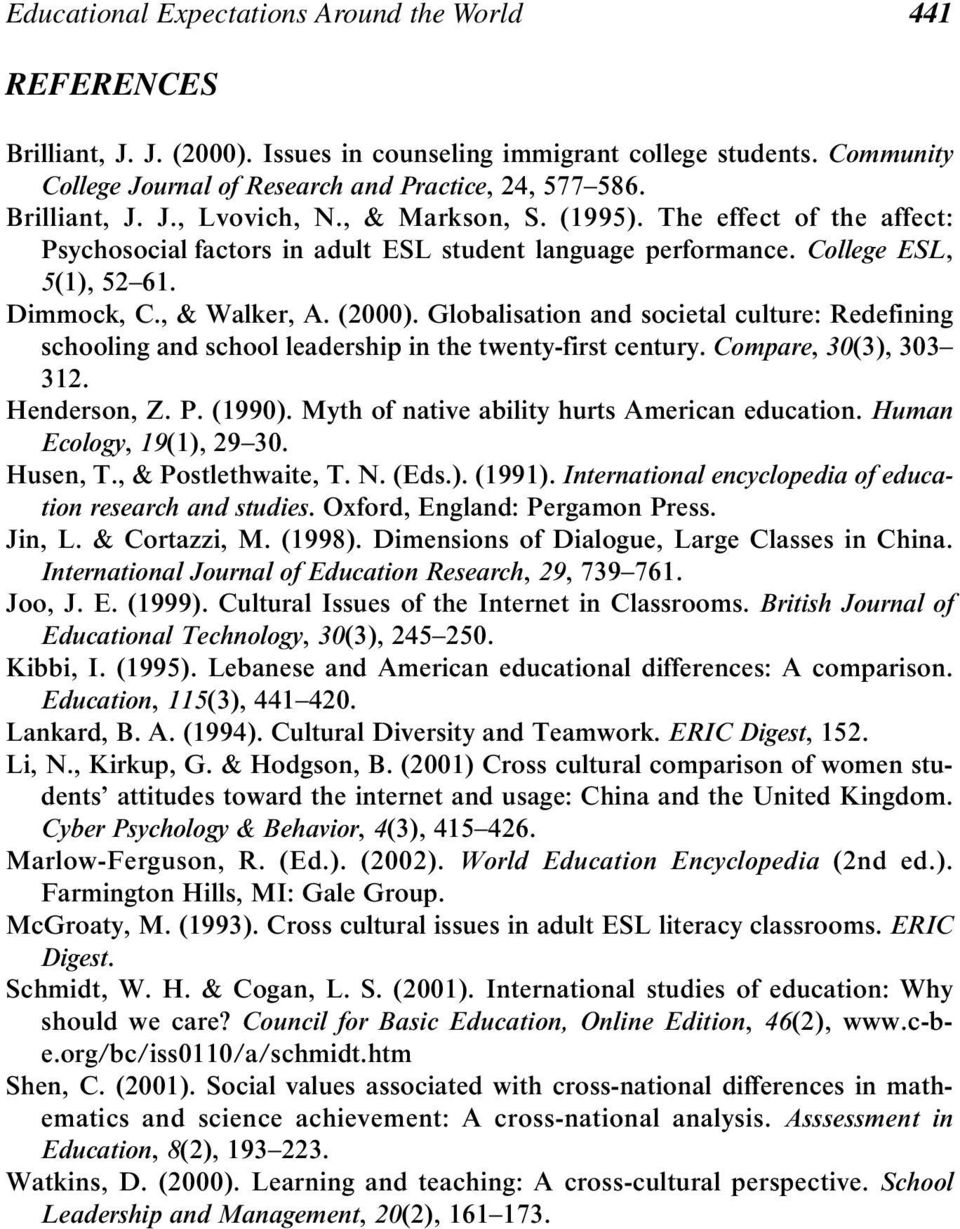 ( 2000 ). Globalisation and societal culture: Redefining schooling and school leadership in the twenty-first century. Compare, 30 ( 3 ), 303 312. Henderson, Z. P. ( 1990 ).