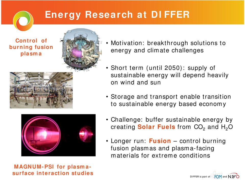 sustainable energy based economy Challenge: buffer sustainable energy by creating Solar Fuels from CO 2 H 2 O Longer run: