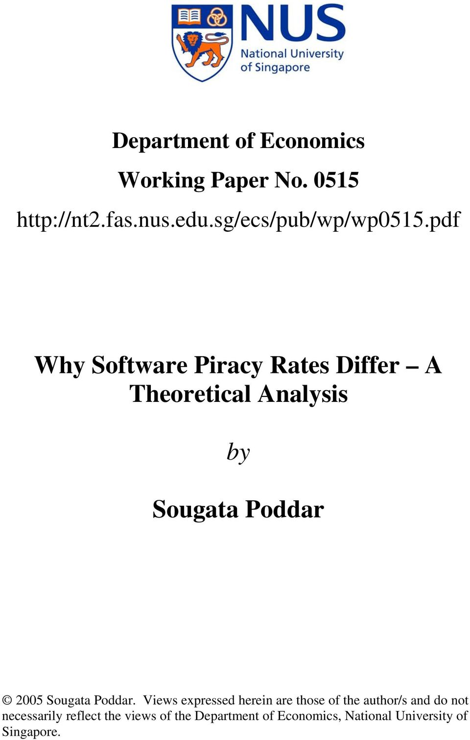pdf Why Software iracy Rates Differ A Theoretical Analysis by Sougata oddar 005
