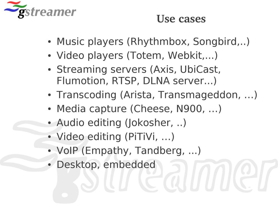 ..) Transcoding (Arista, Transmageddon, ) Media capture (Cheese, N900, ) Audio