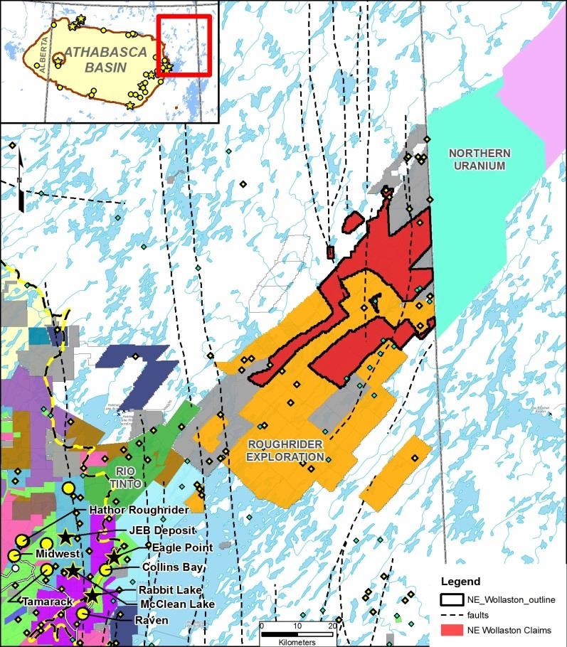 The Wollaston NE Uranium Property Approx. 81,000 ha (200,000 acres). Covers magnetic low extensions of the Wollaston domain beyond the borders of the Athabasca Basin.
