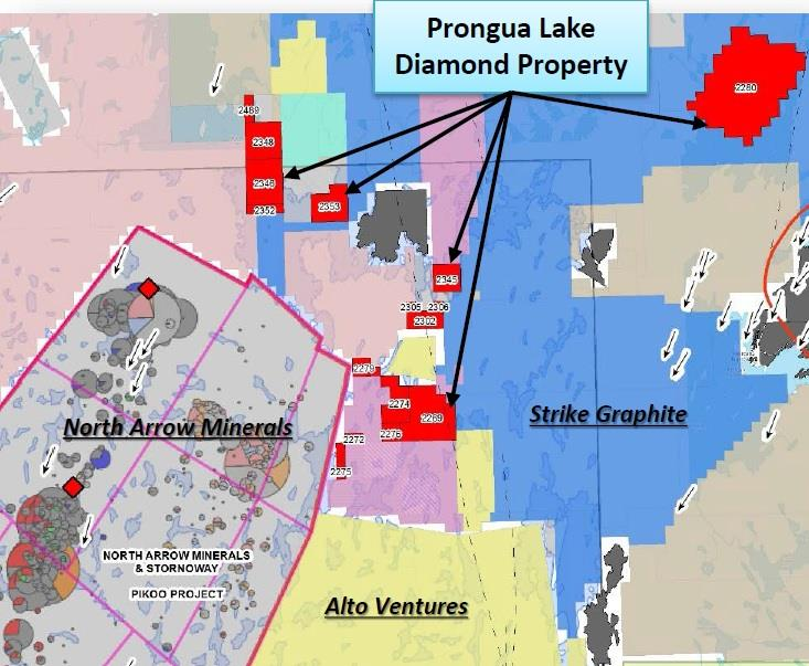 The Prongua Lake Diamond Property 80% interest in approx. 9,270 acres covering 16 claims.