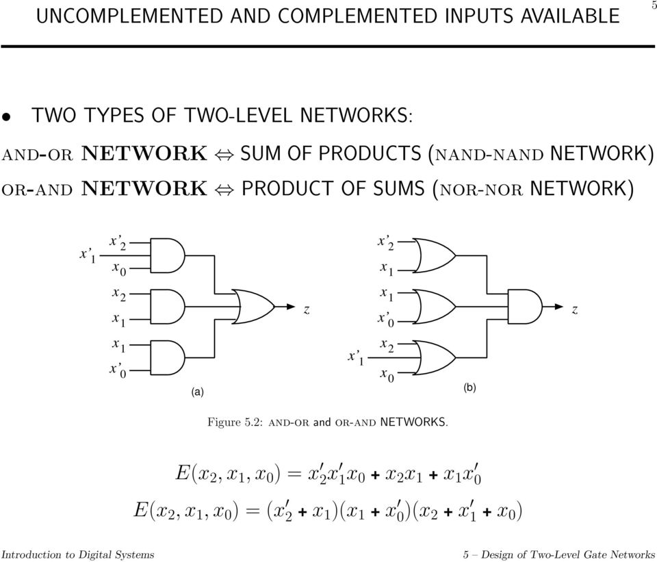 NETWORK PRODUCT OF SUMS (nor-nor NETWORK) x x 2 x 2 z x 0 z x x 0 (a) (b)