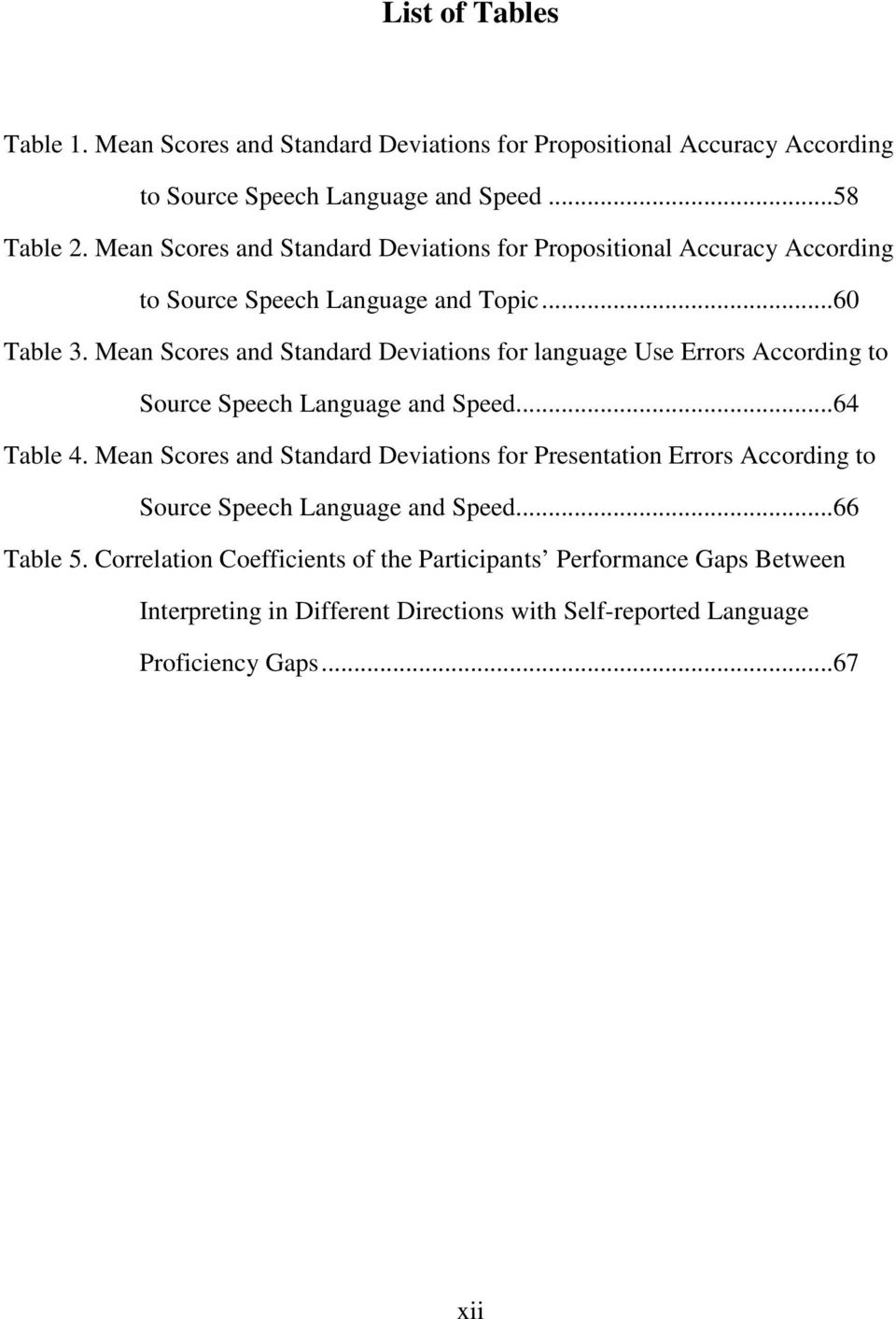Mean Scores and Standard Deviations for language Use Errors According to Source Speech Language and Speed...64 Table 4.