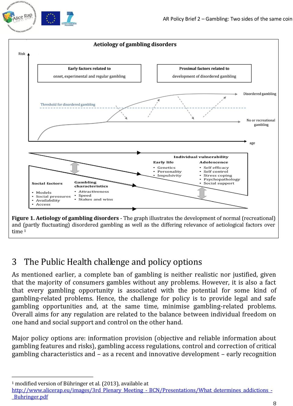 factors over time 1 3 The Public Health challenge and policy options As mentioned earlier, a complete ban of gambling is neither realistic nor justified, given that the majority of consumers gambles