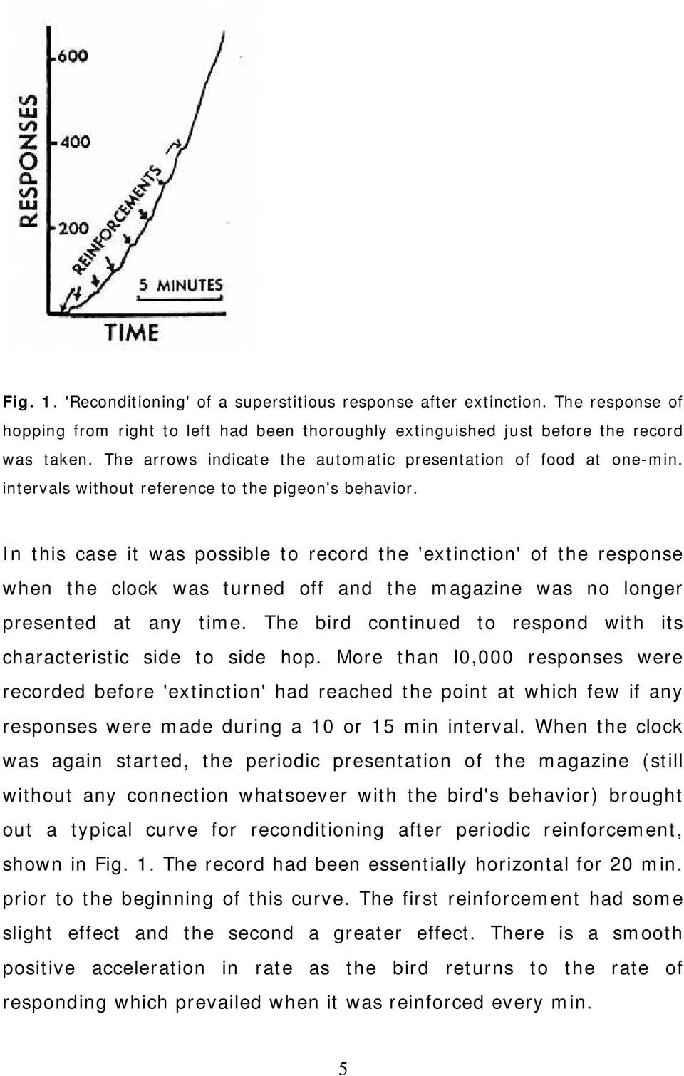 In this case it was possible to record the 'extinction' of the response when the clock was turned off and the magazine was no longer presented at any time.