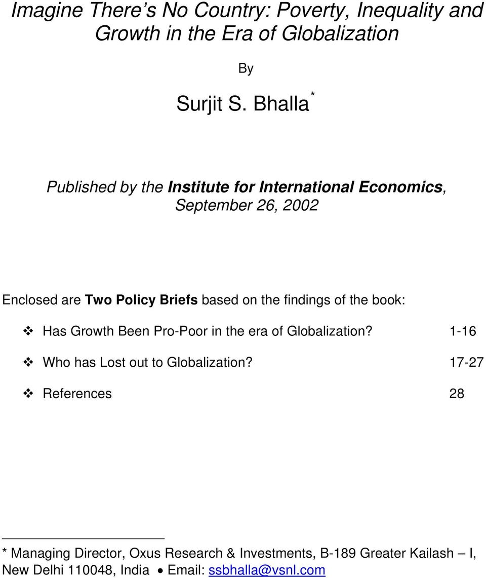 on the findings of the book: Has Growth Been Pro-Poor in the era of Globalization? 1-16 Who has Lost out to Globalization?