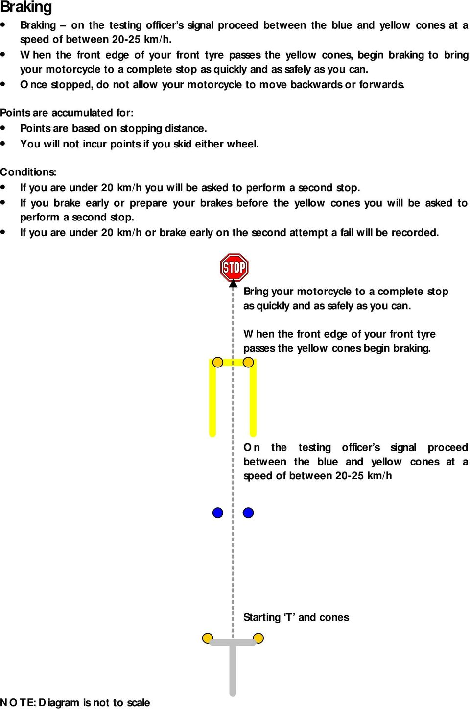 Once stopped, do not allow your motorcycle to move backwards or forwards. Points are based on stopping distance. You will not incur points if you skid either wheel.