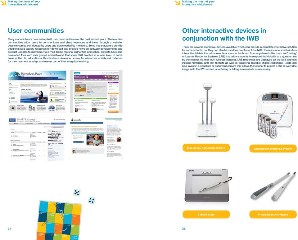 Some manufacturers provide additional IWB Gallery resources for download and provide news on software developments and product updates to members via e-mail.