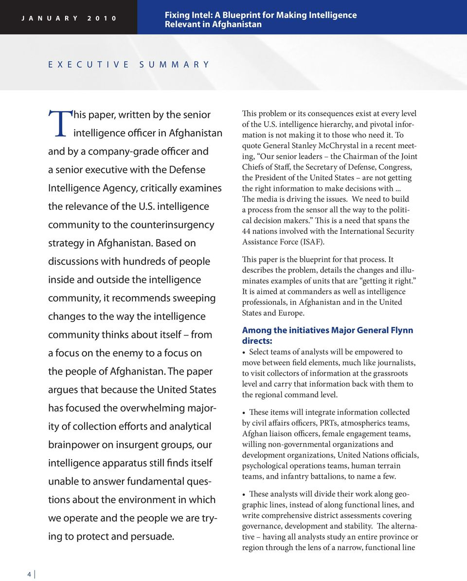 intelligence community to the counterinsurgency strategy in Afghanistan.