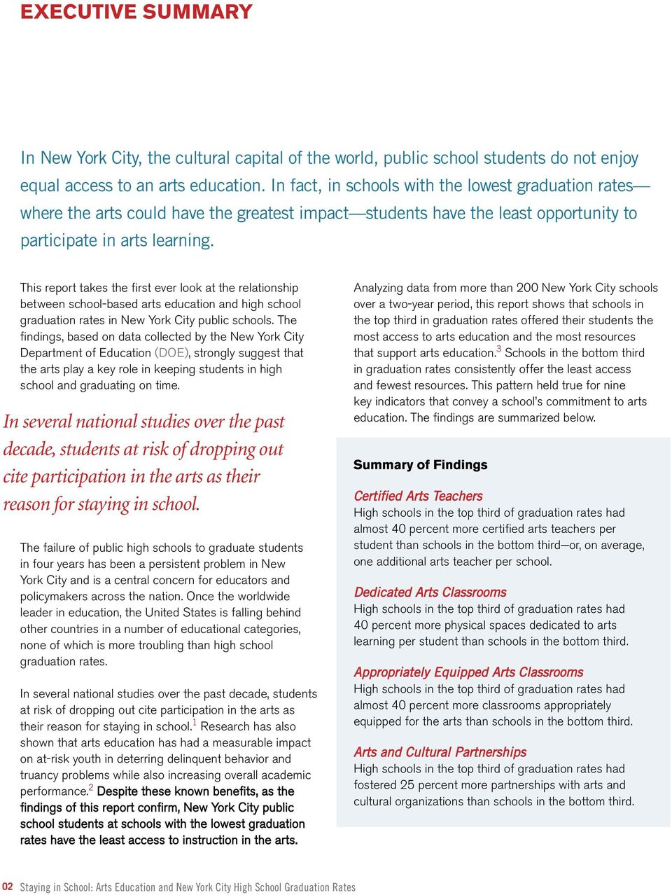 This report takes the first ever look at the relationship between school-based arts education and high school graduation rates in New York City public schools.