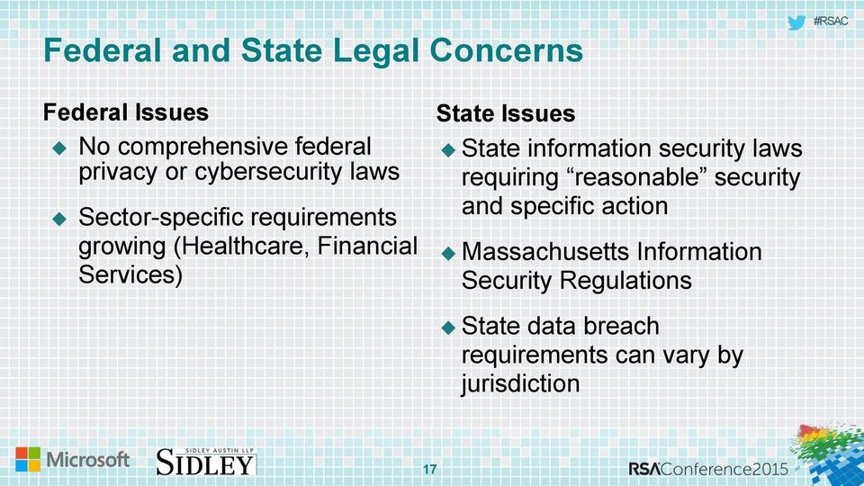 State Issues State information security laws requiring reasonable security and specific