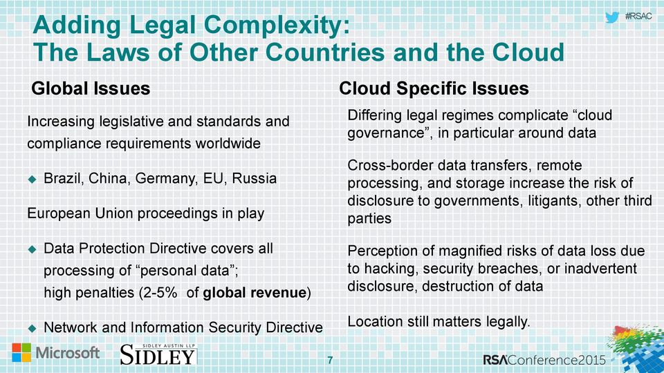 Specific Issues Differing legal regimes complicate cloud governance, in particular around data Cross-border data transfers, remote processing, and storage increase the risk of disclosure to