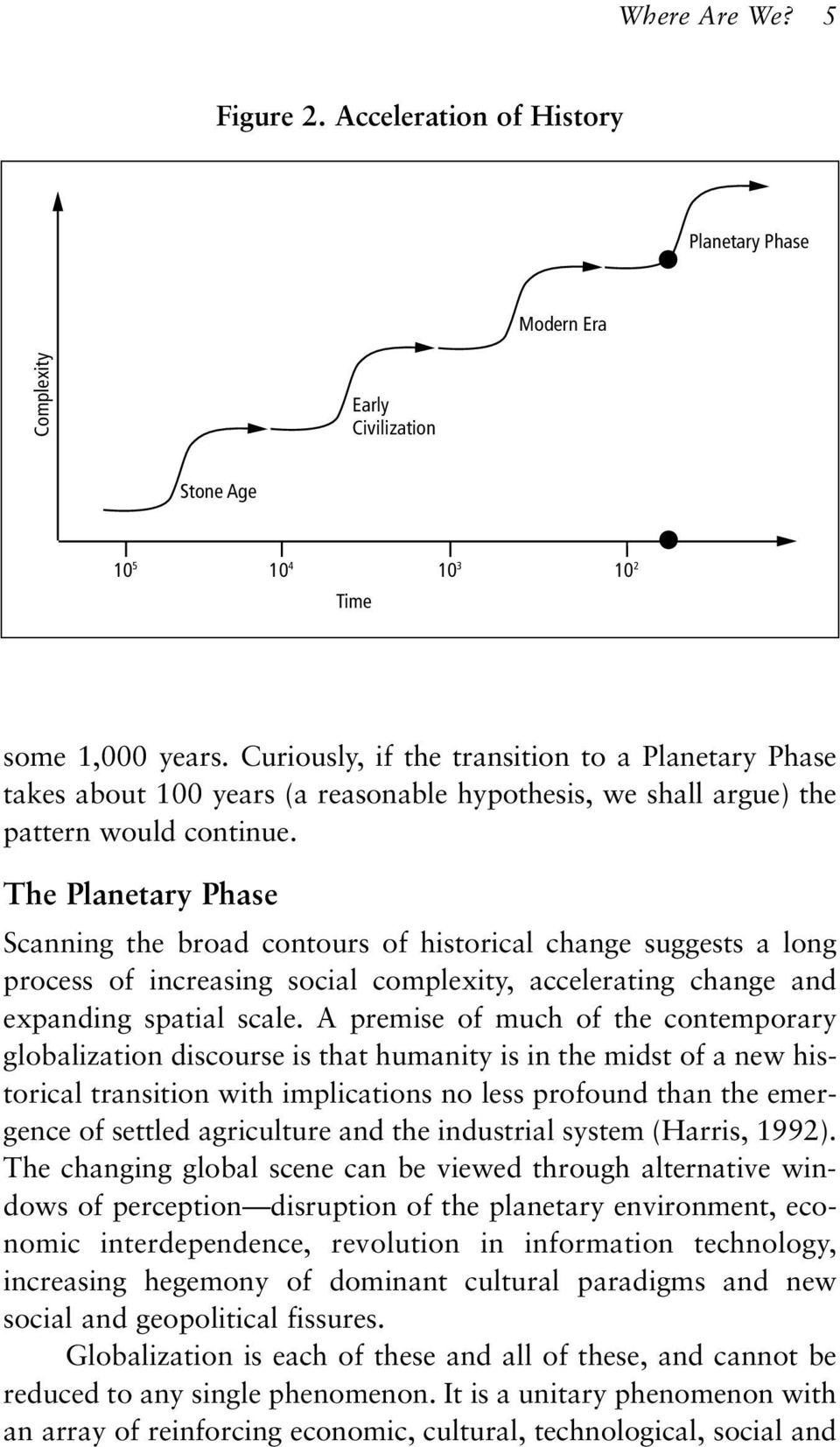 The Planetary Phase Scanning the broad contours of historical change suggests a long process of increasing social complexity, accelerating change and expanding spatial scale.